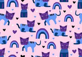 katter sömlösa mönster, barnslig ritning skandinavisk stil. söt karaktär roliga poser. vektor