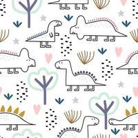 dinosaurie sömlösa mönster, vektorillustration med barnsliga ritning pastellfärger. söta monsterkaraktärer i djungeln. vektor