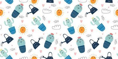 söta kaktus sömlösa mönster. handritad vektorillustration, rolig botanisk barnslig teckning. tecknad skandinavisk stil för baby, barn och barn mode textil redo att skriva ut. vektor
