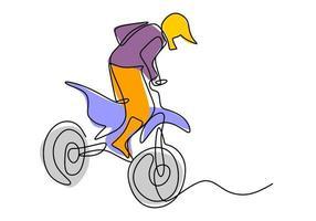 enda kontinuerlig linje ritning av ung motocross ryttare klättra uppför backen i full fart. extrem sport race koncept. vektor