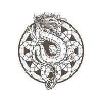 Drachenzeichnung Vektor-Illustration, altes Mandala spirituell. Schlange asiatisches Drachenmonster. Mythologie Tiercharakter isoliert auf weißem Hintergrund. vektor