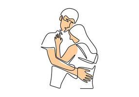 kontinuierliche einzeilige Zeichnung. Liebespaar Frau und Mann in Liebesbeziehung. Vektorillustration, Minimalismusstil. vektor