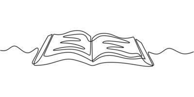 en radritning, öppen bok. vektor objekt illustration, minimalism handritad skiss design. begreppet studier och kunskap.