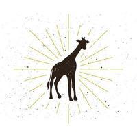 retro giraff silhuett logotyp vektor