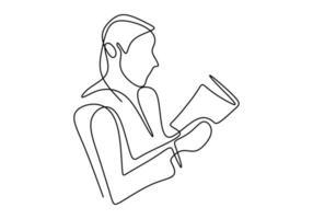 kontinuierliche einzeilige Zeichnung der Person, die sitzt und ein Buch liest. vektor