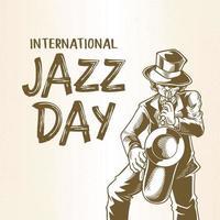 Internationaler Jazz-Tag mit handgezeichnetem Saxophonisten, einem Mann, der Saxophon bläst, Skizzenzeichnung. vektor