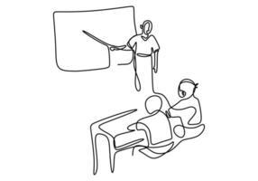 enda kontinuerlig linje ritning av läraren förklara något och ge utbildning till studenten med tomt tavla. vektor
