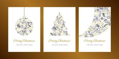 Frohe Weihnachten Grußkarte Vektor Vorlage Set