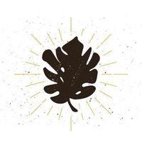 retro tropiska blad silhuett logotyp vektor