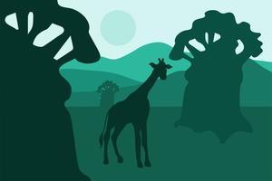 afrikanische Landschaft mit Affenbrotbäumen und Wandergiraffe vektor