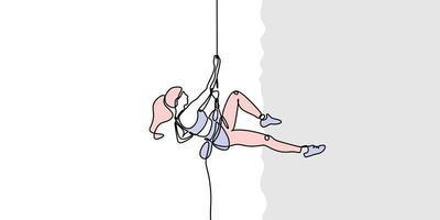 bergsklättring kontinuerlig en linje ritning. flicka som gör extrem sport, adrenalinaktivitet av stark kvinna. klättrare med ett rep, enkelhetsdesignvektorillustration. vektor