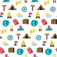 Cartoon Reisen und Camping nahtloses Muster vektor