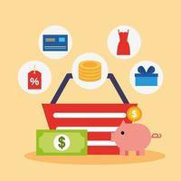 shopping korg med online shopping teknik ikoner vektor