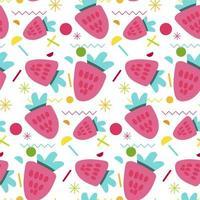 nahtloses Muster der süßen Erdbeere vektor