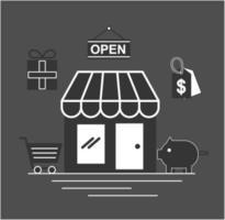 butiksbyggnad med ikoner för online shoppingteknik