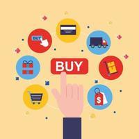 bunt av online shopping teknik ikoner