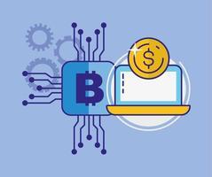 pengar, ekonomi och teknik koncept med laptop ikon vektor