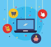 bärbar dator med ikoner för shopping online