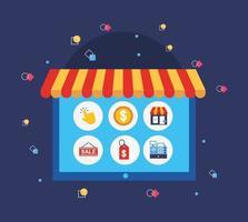 surfplatta med ikoner för shopping online