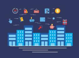 stadsbild med online shoppingteknik