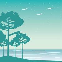 Fernweh Waldlandschaft mit Seeszene vektor