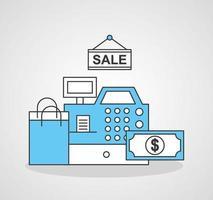 registrera maskinen med online shoppingteknik vektor