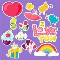 vektor romantisk kärlek lappar i doodle stil med form