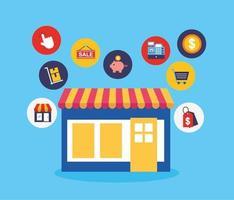 butiksbyggnad med ikoner för online shoppingteknik vektor