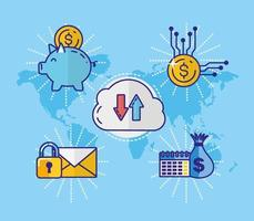 pengar, ekonomi och teknologikoncept med ikoner vektor