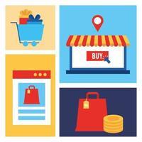 Bündel von Online-Shopping-Technologie-Symbolen