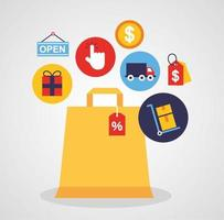 Papiertüte mit Symbolen der Online-Shopping-Technologie