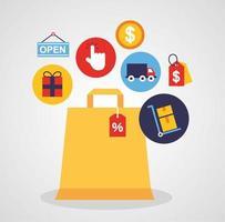 papperspåse med ikoner för online shoppingteknik
