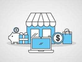 Ladengebäude mit Icons der Online-Shopping-Technologie