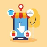 Smartphone mit Symbolen für Online-Shopping-Technologie