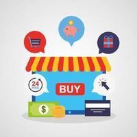 Tablet mit Symbolen für Online-Shopping-Technologie