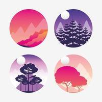 wanderlust landskap ikonuppsättning vektor