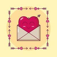 Alla hjärtans dag design med hjärtat karaktär i kuvertet vektor