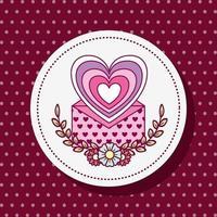 süßes Herz mit Blumen und Umschlag vektor