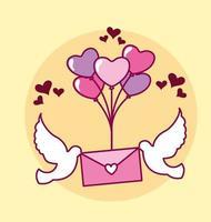 Valentinstag Design mit Umschlag und Luftballons vektor