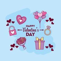 Valentinstag Design mit Ikonen vektor