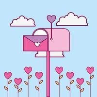 Alla hjärtans dag design med brevlåda vektor