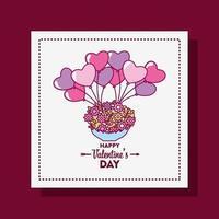 glad Alla hjärtans dagskort med hjärta ballonger vektor