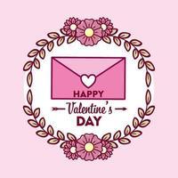 Alla hjärtans dag design med kuvert vektor