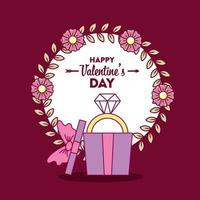 Alla hjärtans dag design med söt diamantring vektor