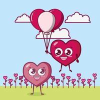 Alla hjärtans dag design med hjärtat karaktärer vektor