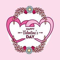 glückliche Valentinstagskarte mit Herzen vektor