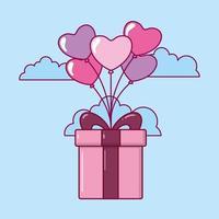 Valentinstag Design mit niedlichen Geschenkbox vektor
