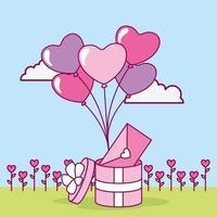 Alla hjärtans dag design med söt presentask vektor