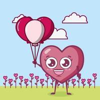 Alla hjärtans dag design med hjärtat karaktär vektor