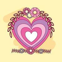 söt hjärta med blommor vektor